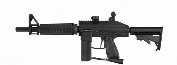 Tippmann Stryker XR1 .68 Cal schwarz, 0,8l HP, JT Premise Headshield single, Valken V-Max+