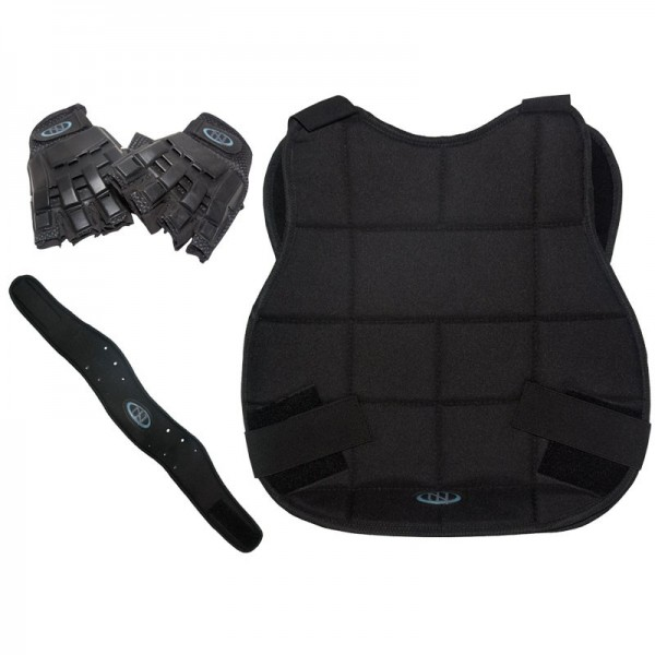 New Legion Paintball Schutzset - schwarz mit Halbfinger-Handschuh