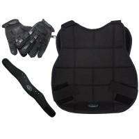 New Legion Paintball Schutzset - schwarz mit Vollfinger-Handschuh