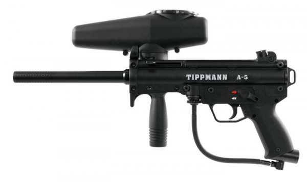 Tippmann A-5 Basic .68 Cal schwarz, 12oz CO2 Flasche, Valken MI-3 thermal