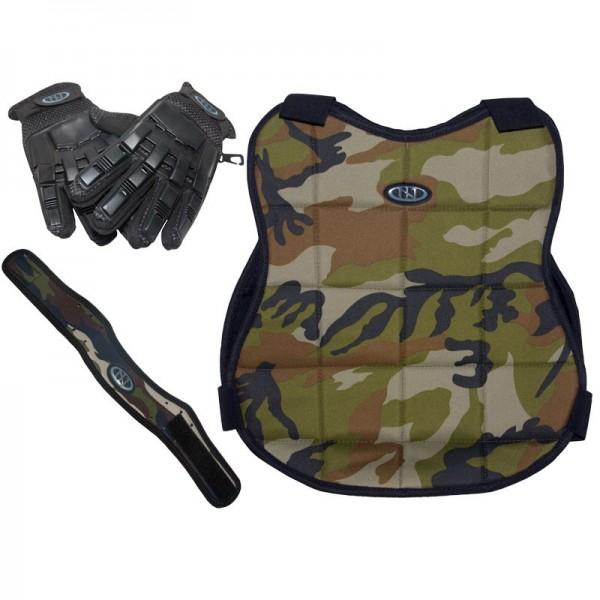 New Legion Paintball Schutzset - camo mit Vollfinger-Handschuh